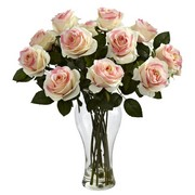Light Pink Blooming Roses w/Vase