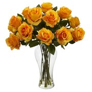 Golden Yellow Blooming Roses w/Vase