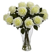 White Blooming Roses w/Vase