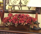 Burgundy Silk Hydrangea Planter in Hammered Metal