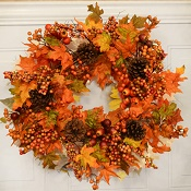 "22""Autumn Leaves & Berry Wreath"