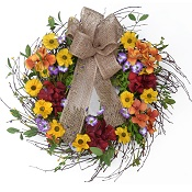 "18"" Twiggy Autumn Floral Wreath with Burlap Bow"