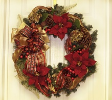 Elegant Burgundy Poinsettia Holiday Wreath