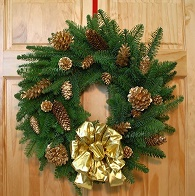 Golden Elegance Handcrafted Fresh Noble Fir Holiday Wreath