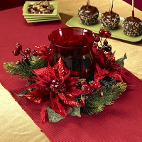 Holiday Berry and Poinsettia Candelabrum