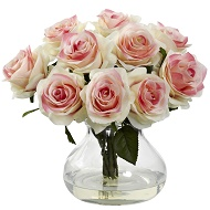 Blooming Bouquet Light Pink Roses w/Vase