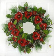 Red Amaryllis Pine Cone Wreath