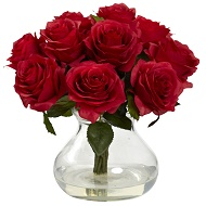 Blooming Bouquet Red Roses w/Vase