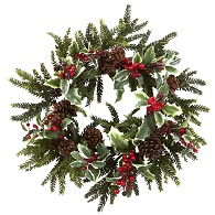 Holiday Pine Holly Berry Wreath