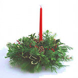 Coastal Holiday Centerpiece with Candle (Fresh)