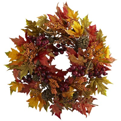 "24""Autumn Maple and Berry Wreath"