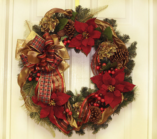 "28"" Gold and Burgundy Holiday Poinsettia Wreath"