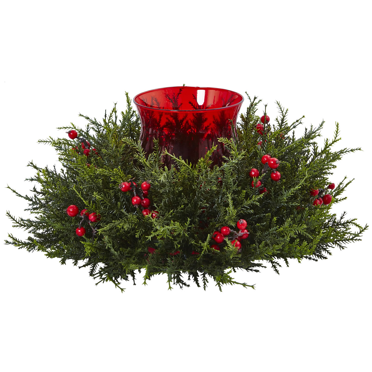 Artificial Cedar Berry Candelabrum