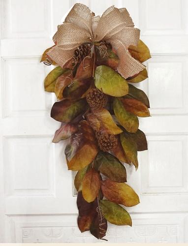 Earthy Chic Magnolia Leaf Swag w/ Burlap Bow
