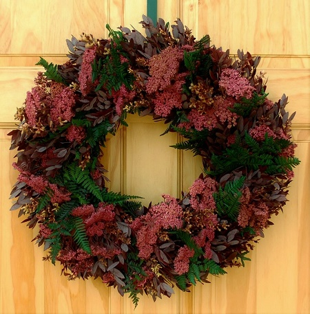 Shades of Burgundy and Rose Wreath