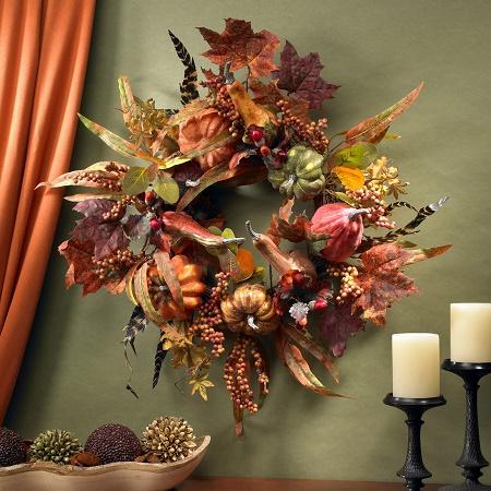 """24""""Fall Pumpkin & Berry Wreath"""