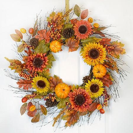 "34""Fall Sunflower Harvest Wreath"