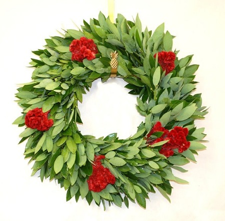 "18"" Fresh Bay Celosia Wreath"