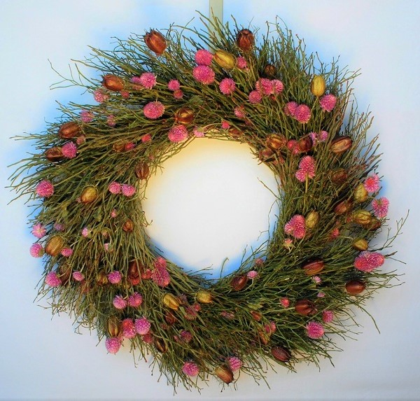 In the Pink Amaranth and Nigella Wreath