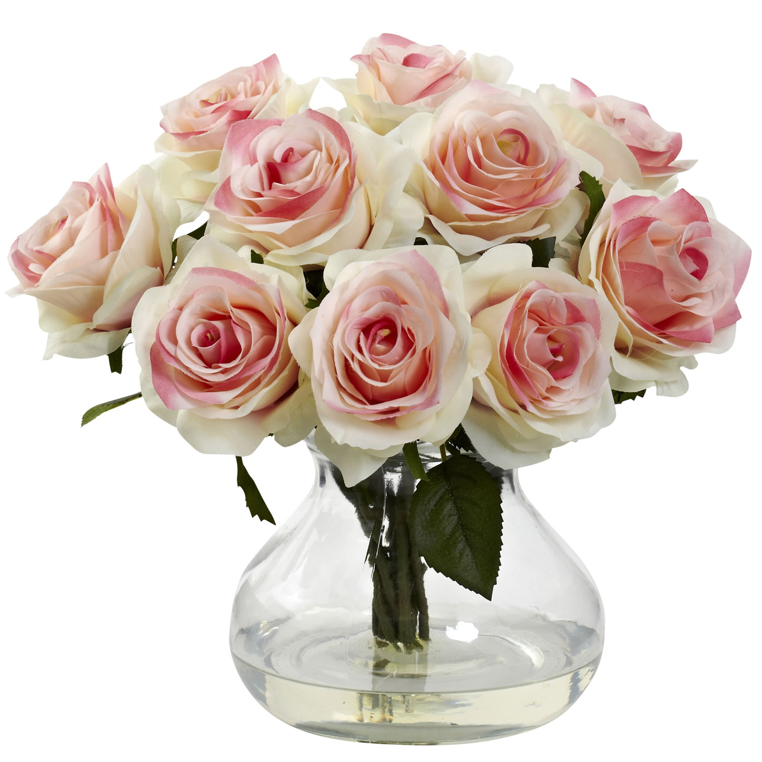 Blooming Bouquet Roses Wvase Water Look Light Pink Rose Arrangement