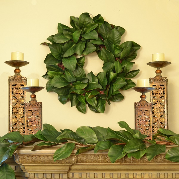 Green Magnolia Leaf Wreath and Garland Set