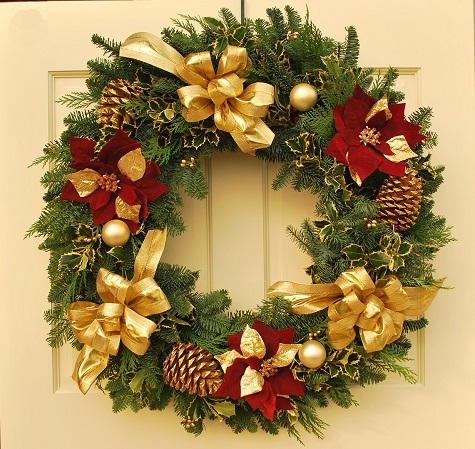 Simply Elegant Poinsettia Fresh Christmas Wreath