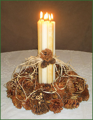 Rustic Holiday Pinecone Candle Centerpiece