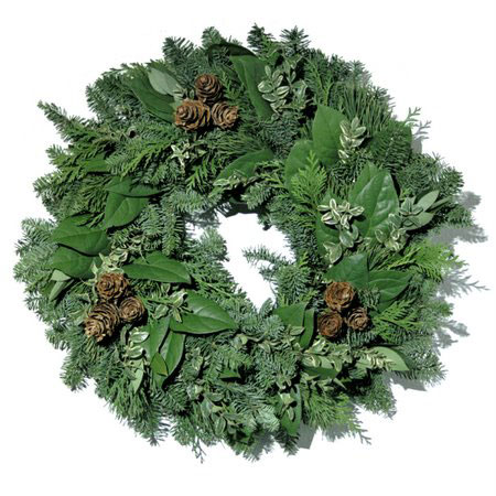 "18"" Traditional Fresh Evergreen Wreath"