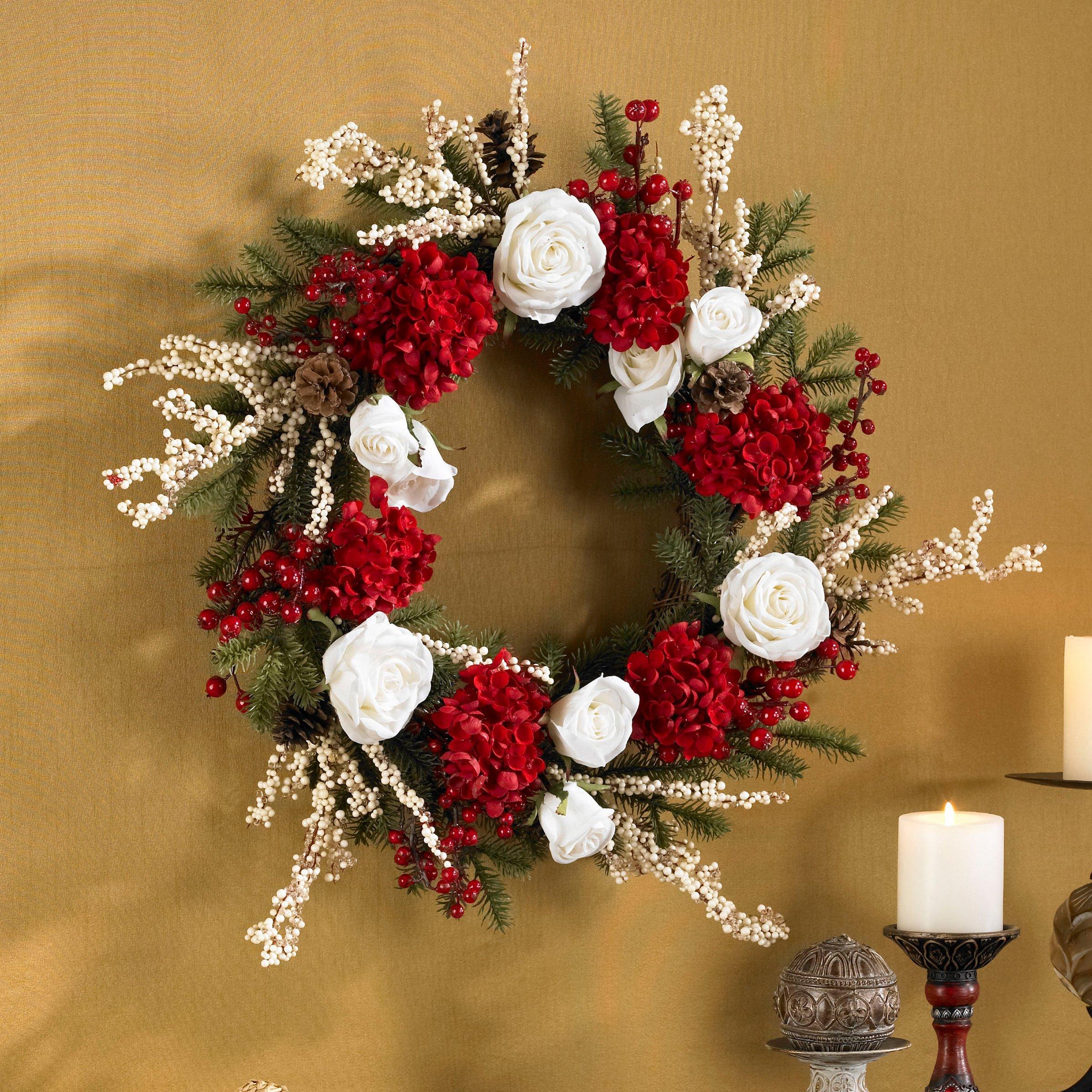 Winter Roses and Hydrangea Wreath