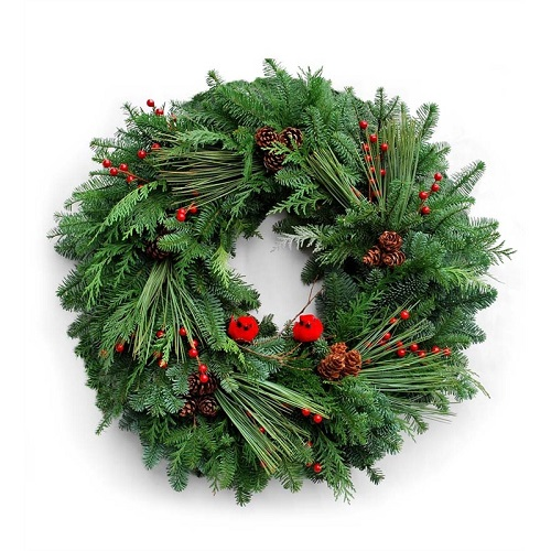 "24"" Fresh Woodland Holiday Cardinal Wreath"