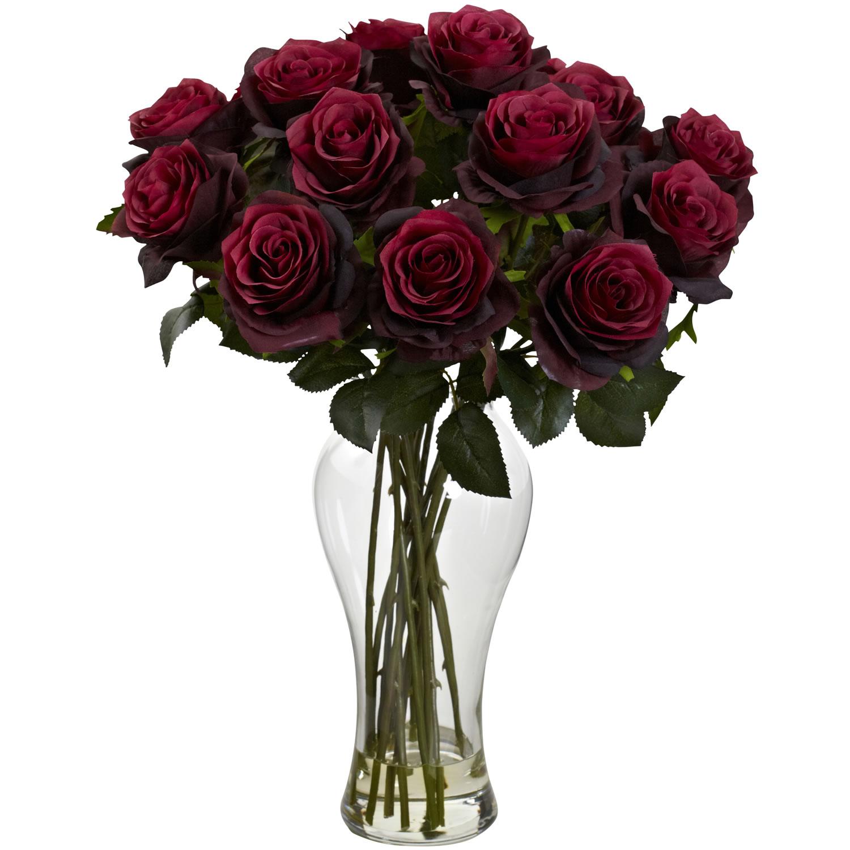 Burgundy Blooming Roses w/Vase