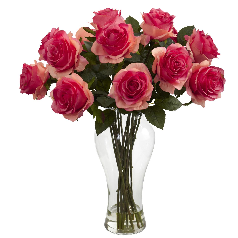 Dark Pink Blooming Roses w/Vase