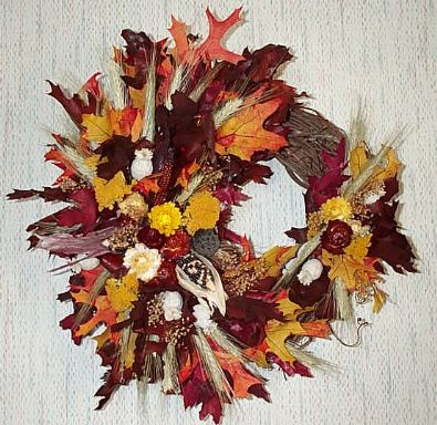 Dried Flower Wreaths on Seasonal Wreaths Fall Harvest Wreath