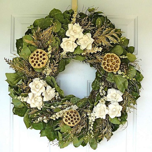 "22"" Golden Lotus Wreath"