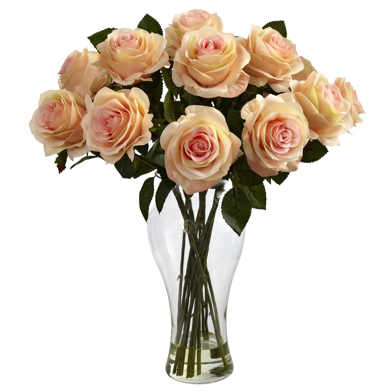 Peach Blooming Roses w/Vase