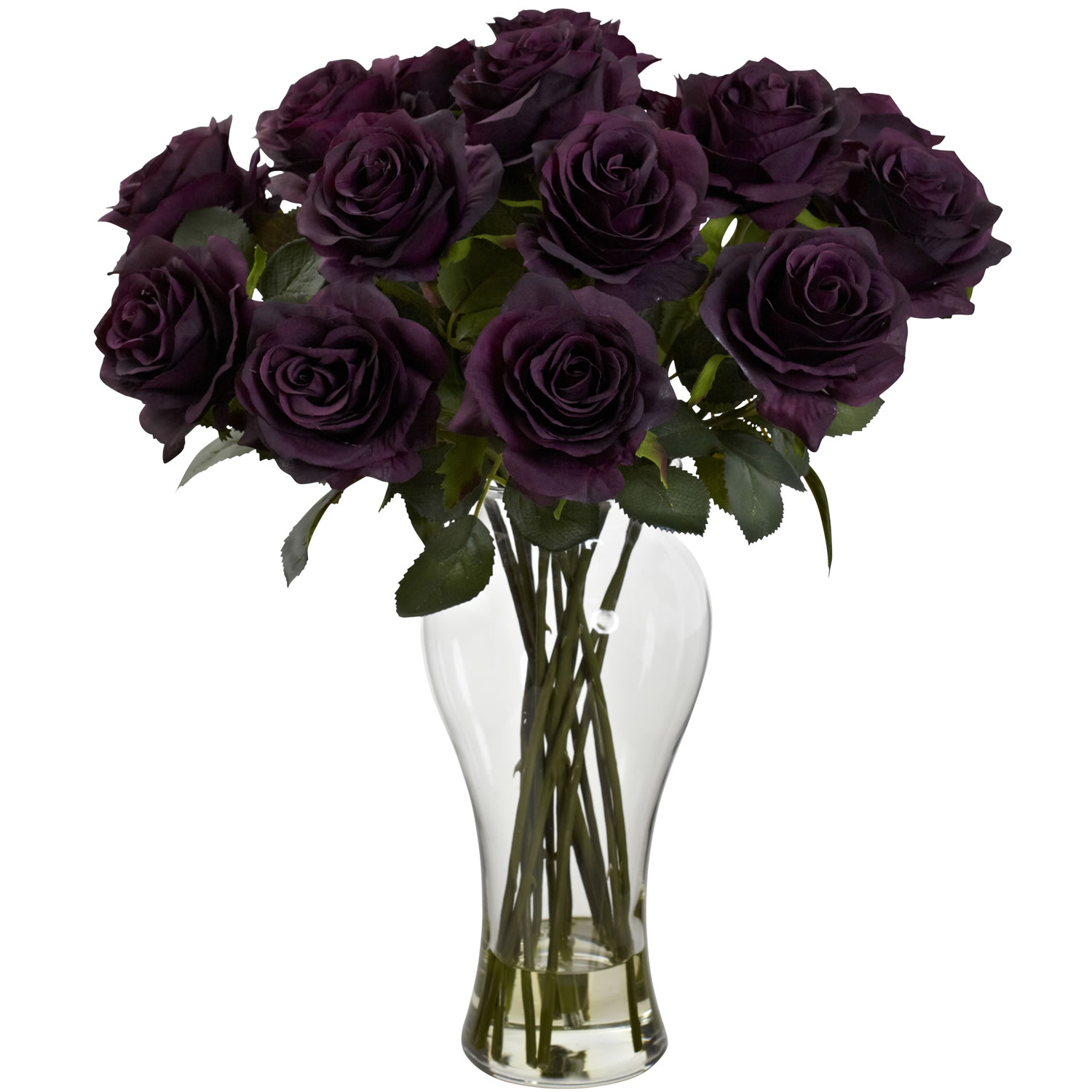 Purple Elegance Blooming Roses w/Vase