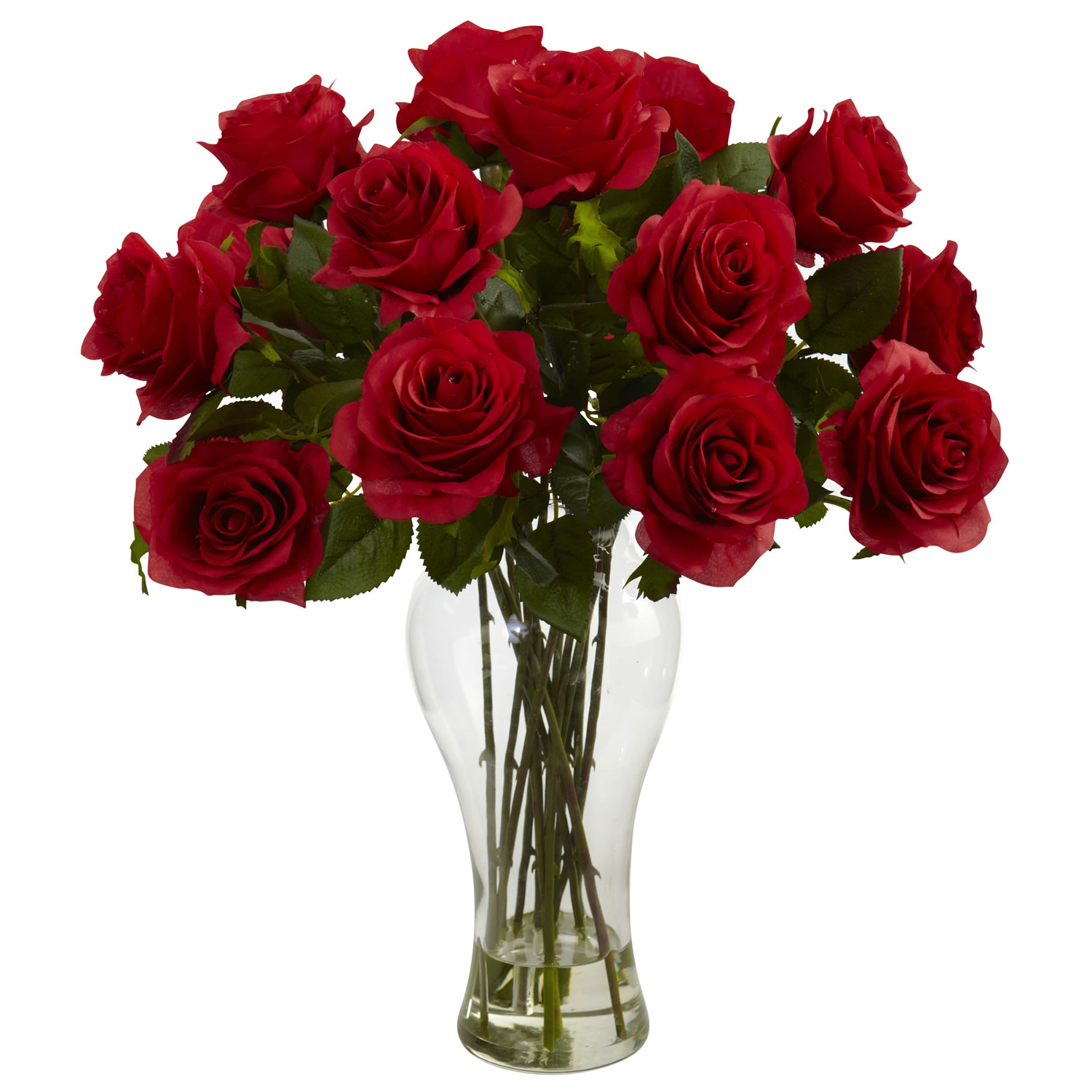 Red Blooming Roses w/Vase