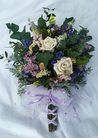 Roses And Wildflowers Bridesmaids Bouquet