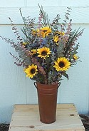 Sunflower and Eucalyptus Bucket (silk/dried)