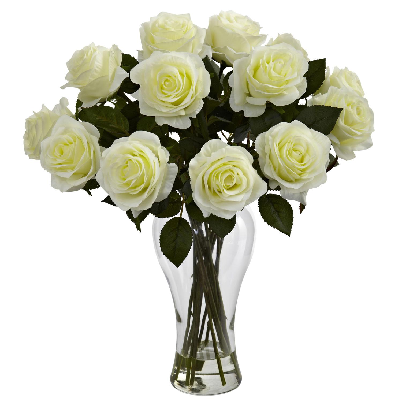 White Blooming Roses w/Vase