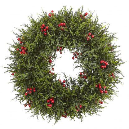 Artificial Cedar Berry Wreath