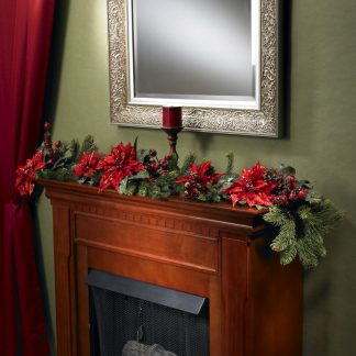 Holiday Berry and Poinsettia Garland