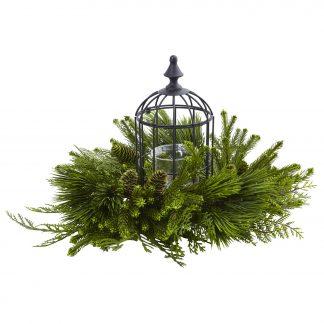 Holiday Mixed Pine Birdhouse Candelabrum