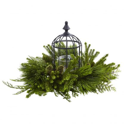 Holiday Mixed Pine Birdhouse Candelabrum