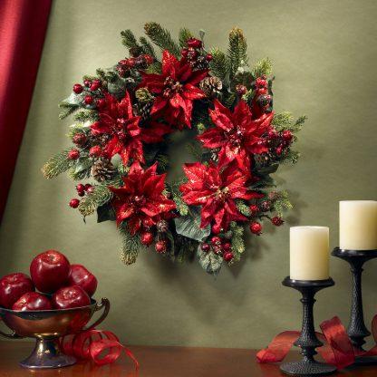 Poinsettia Berry Pine Wreath