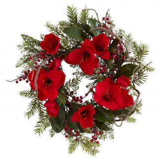 Amaryllis and Berry Wreath