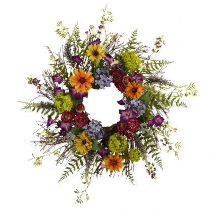 Spring Garden Flower Wreath (Silk)