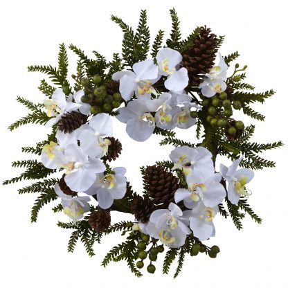 White Orchid & Pine Wreath