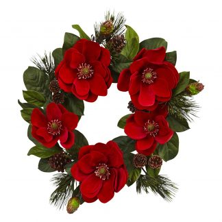 Ruby Magnolia and Pine Wreath