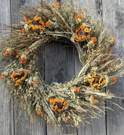 rustic sunflower wreath